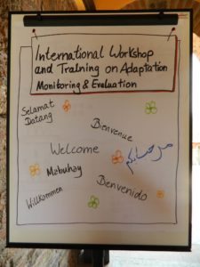 Welcome poster of International Workshop and Training on Adaptation M&E 29 April - 3 May 2013