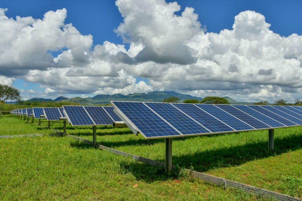 Solar panels on a meadow