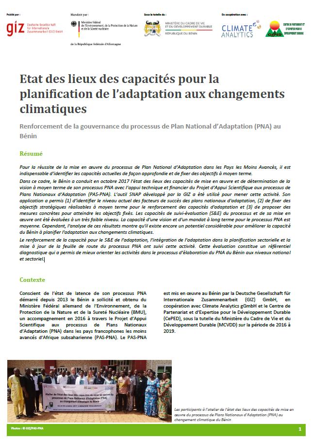 Factsheet SNAP Benin