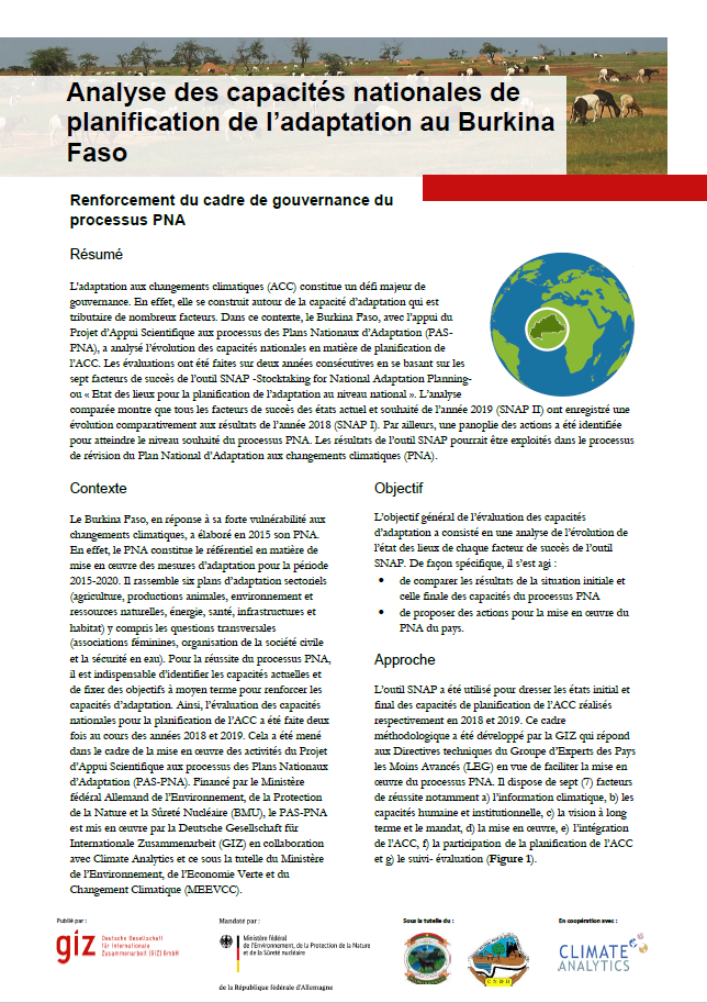 Factsheet SNAP Burkina Faso