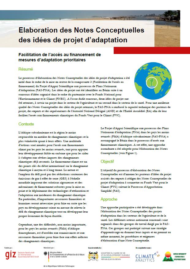 Factsheet Elaboration Notes Conceptuelles Benin