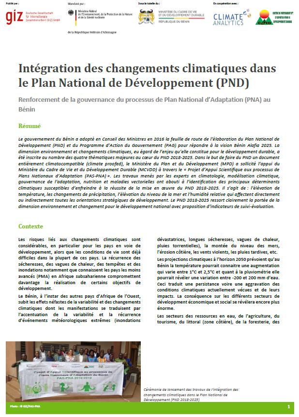 Factsheet Intégration CC au PND Benin