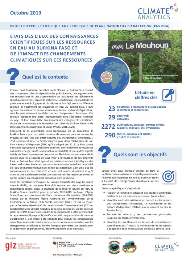 Briefing Etat des lieux connaissances scientifiques Ressources en Eau Burkina Faso