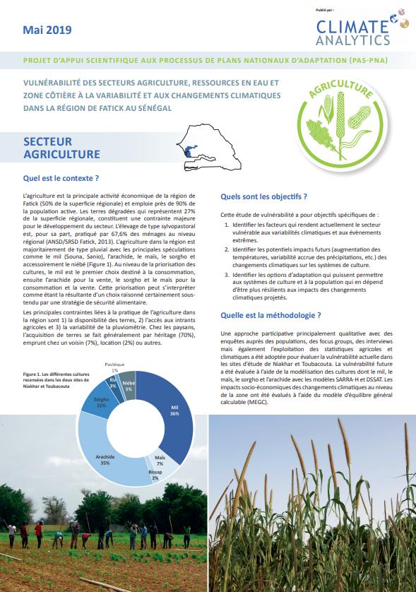 Briefing Etude de vulnérabilité Agriculture Senegal
