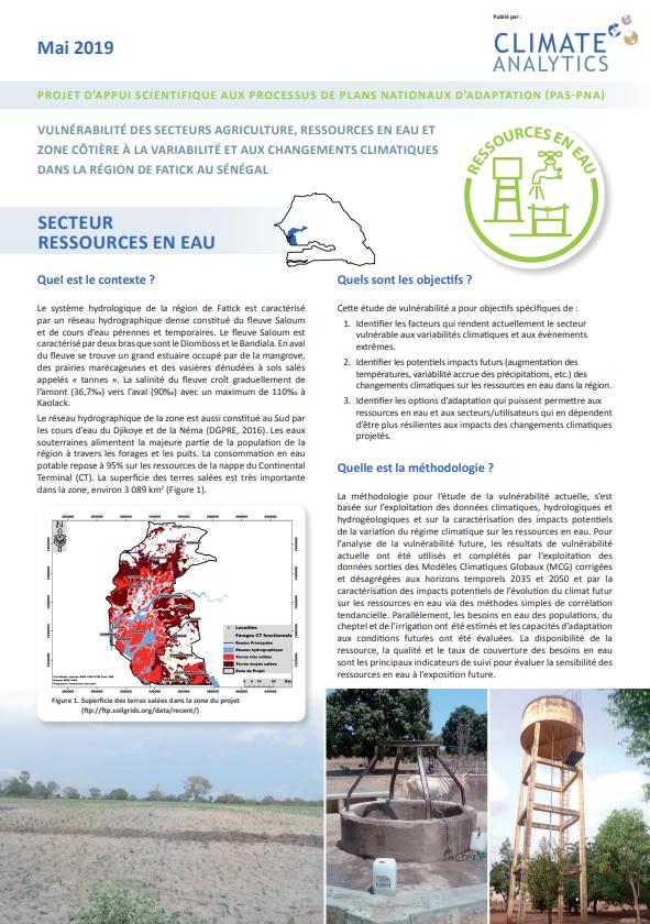 Briefing Etude de vulnérabilité Ressources en Eau Senegal