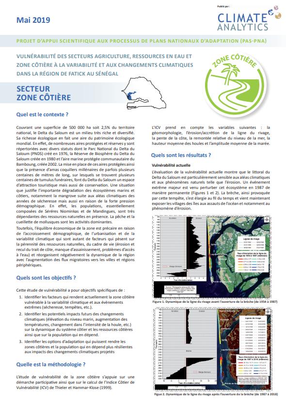 Briefing Etude de vulnérabilité Zone Cotiere Senegal