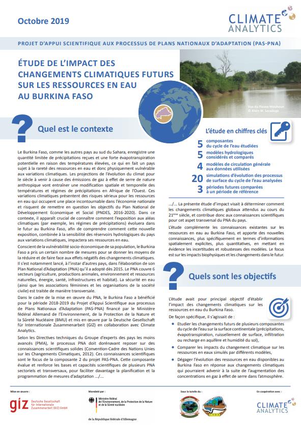 Briefing Etude d'impact Ressources en Eau Burkina Faso
