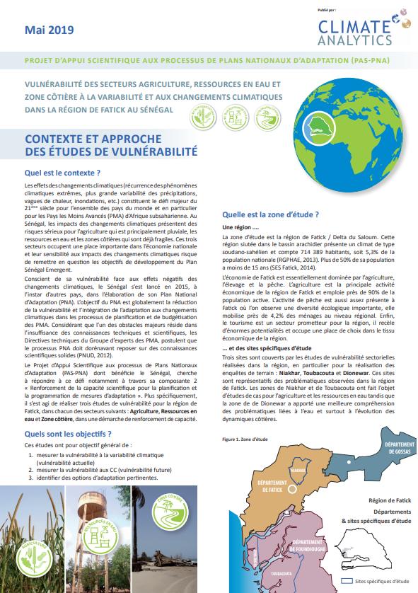 Contexte et approche Etudes de vulnerabilite Senegal