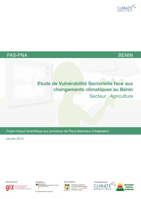 Etude de vulnerabilite Agriculture Benin