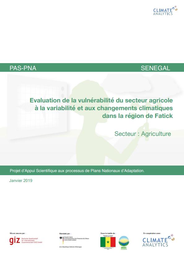Etude de vulnérabilité Agriculture Senegal