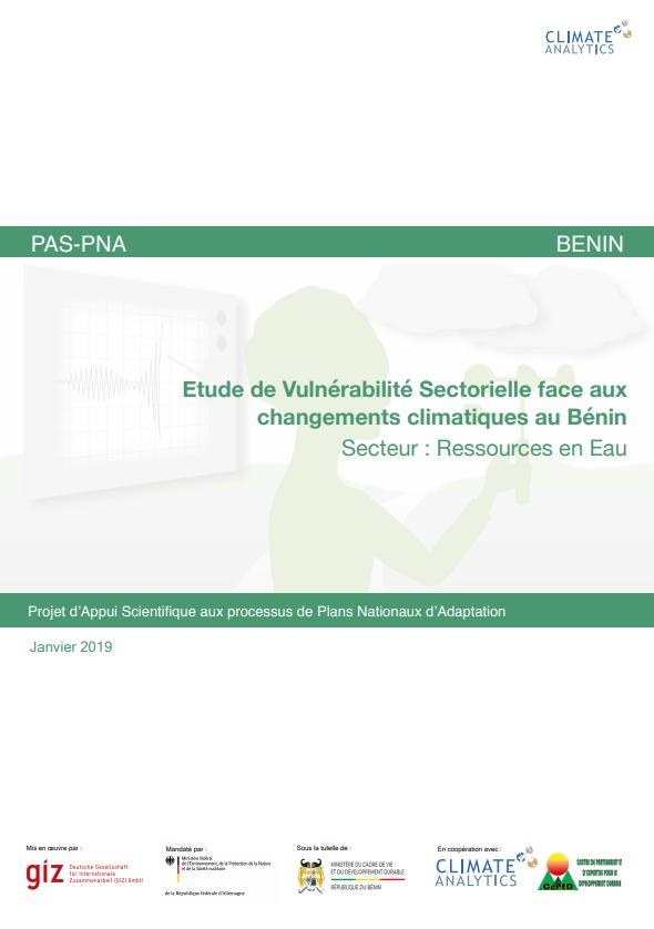 Etude de vulnerabilite Ressources en Eau Benin